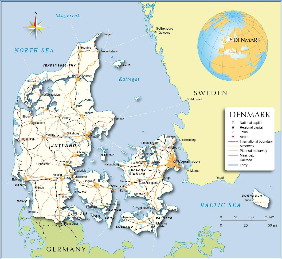 Danmark Ports Kort Kort Over Danmark Porte I Det Nordlige Europa