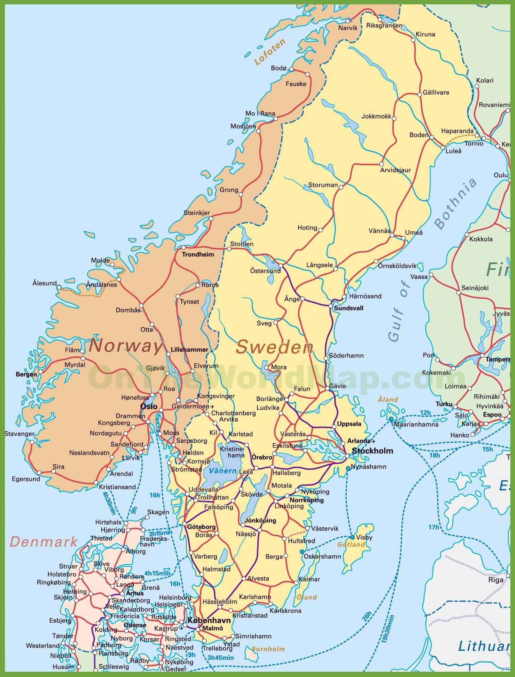 Norge Danmark Kort Kort Over Danmark Og Norge I Det Nordlige
