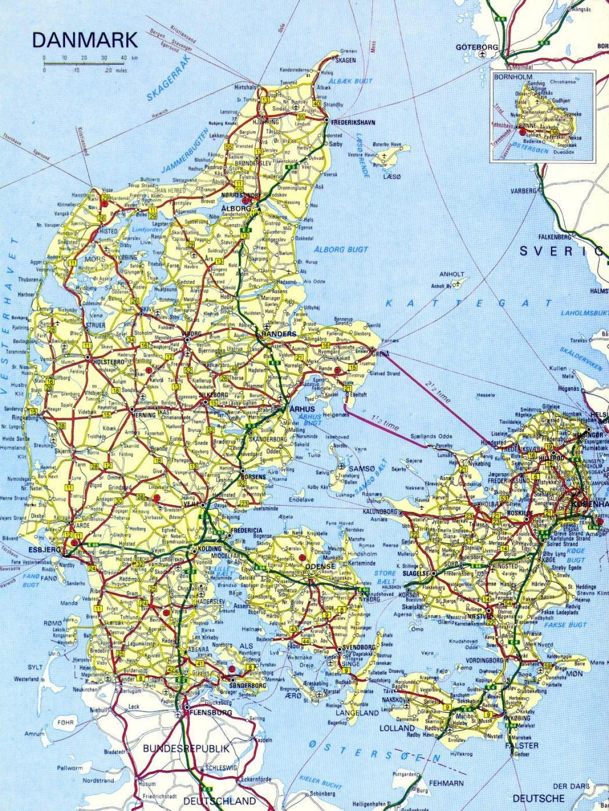 Vej Kort Over Danmark Kort Pa Vej I Danmark I Det Nordlige Europa